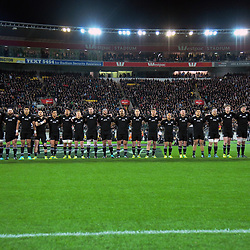 The All Blacks line up for the Rugby Championship match between the New Zealand All Blacks and South Africa Springboks at Westpac Stadium in Wellington, New Zealand on Saturday, 15 September 2018. Photo: Dave Lintott / lintottphoto.co.nz