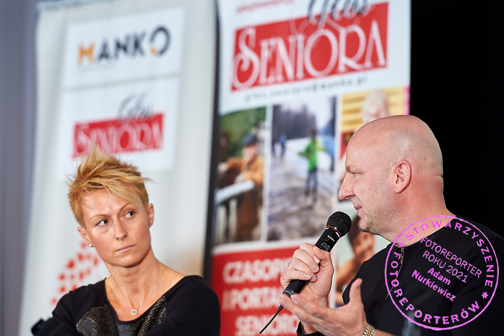 Warsaw, Poland - 2017 April 07: (R) Pawel Jurek - scriptwriter and athlete speaks while The Day of Health - science conference in the National Library on April 07, 2017 in Warsaw, Poland.<br /> <br /> Mandatory credit:<br /> Photo by © © Adam Nurkiewicz / Mediasport / Mediasport<br /> <br /> Picture also available in RAW (NEF) or TIFF format on special request.<br /> <br /> Any editorial, commercial or promotional use requires written permission from the author of image.<br /> <br /> Adam Nurkiewicz declares that he has no rights to the image of people at the photographs of his authorship.