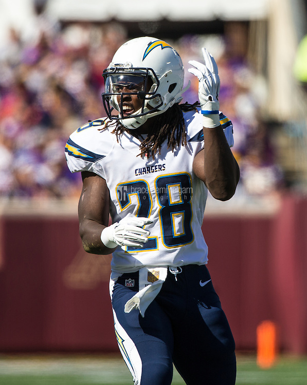 Sep 27, 2015; Minneapolis, MN, USA; San Diego Chargers running back Melvin Gordon (28) against the Minnesota Vikings at TCF Bank Stadium. The Vikings defeated the Chargers 31-14. Mandatory Credit: Brace Hemmelgarn-USA TODAY Sports
