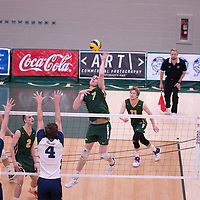 1st year right-side hitter Matthew Aubrey (7) of the Regina Cougars during the home game on January 6 at Centre for Kinesiology, Health and Sport. Credit: Arthur Ward/Arthur Images