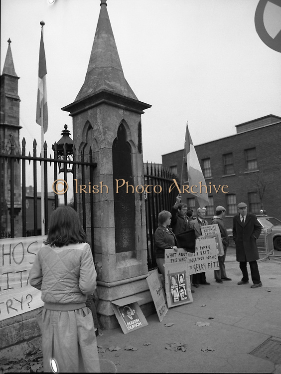 Remembrance Day Service.1983.13.11.1983.11.13.1983.13th November 1983..A remembrance service was held in St Patrick's Cathederal, Dublin,(Poppy Day) to commerate the Irish Fallen who died  whilst on service with the British Army in the two World Wars..Irish Republican activists protest at the gates of the Cathederal.