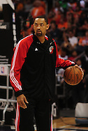 Apr 18, 2010; Phoenix, AZ, USA; Portland Trailblazers forward Juwan Howard (6) warms up prior to the first quarter of game one in the first round of the 2010 NBA playoffs at the US Airways Arena.  Mandatory Credit: Jennifer Stewart-US PRESSWIRE