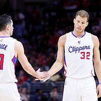 08 November 2014: Los Angeles Clippers guard J.J. Redick (4) congratulates Los Angeles Clippers forward Blake Griffin (32) during the Los Angeles Clippers 106-102 victory over the Portland Trail Blazers, at the Staples Center, Los Angeles, California, USA.