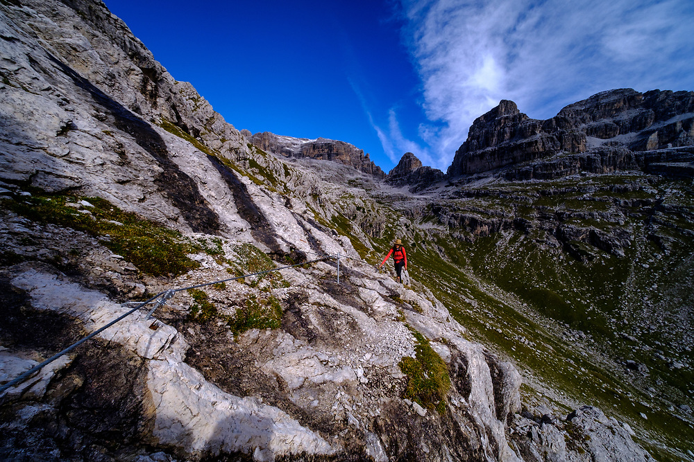 Hiking in the Pozza Tramontana, Dolomites, Italy.