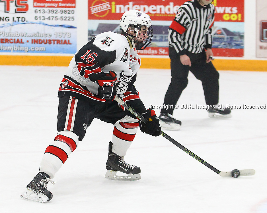 TRENTON, ON  - MAY 4,  2017: Canadian Junior Hockey League, Central Canadian Jr. &quot;A&quot; Championship. The Dudley Hewitt Cup Game 5 between Powassan Voodoos and the Georgetown Raiders.   Jack Hughes #16 of the Georgetown Raiders skates with the puck during the second period<br /> (Photo by Alex D'Addese / OJHL Images)