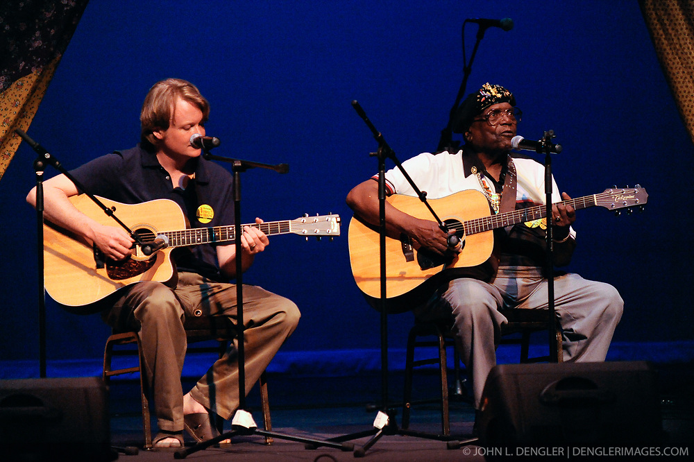 Blues guitarist Nat Reese (right) of  Mercer County West Virginia, and Chris Sutton of Cabell County West Virginia, perform in the West Virginia State Theater during the 2009 Vandalia Gathering. Nat Reese is the recipient of the 1995 Vandalia Award, considered West Virginia's highest folklife honor.