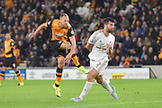 David Meyler  shoots towards goal during the Capital One Cup match between Hull City and Swansea City at the KC Stadium, Kingston upon Hull, England on 22 September 2015. Photo by Ian Lyall.