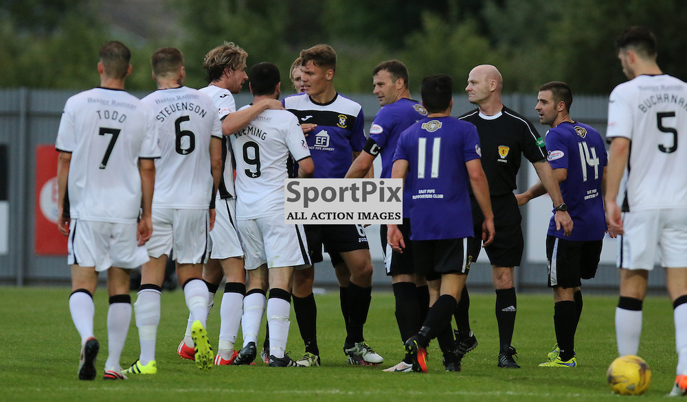 Evertone gets involved in the debate  during the Dumbarton v East Fife Scottish League Cup group stage 19 July 2016<br /> <br /> (c) Andy Scott | SportPix.org.uk