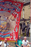 Prince of Wales banner passing the miners memorial, Yorkshire Miners Gala Barnsley 16/6//96