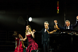ANAHEIM, CA - JUN 9: Italian tenor Andre Bocelli performed Granada, New York, La Boheme, La Traviata among others keeping audience mesmerized at the Honda Center in Anaheim, CA. The magical night included producer David Foster on Piano, Violinist Caroline Campbell, American Idol Season 3 winner Soul Singer Fantasia, Cuban Soprano Maria Aleida and Orchestra Conductor Eugene Kohn. Maria Aleida, Caroline Campbell, Andrea Bocelli, Fantasia and David Foster bow to the last standing ovation. All fees must be agreed prior to publication, Byline and/or web usage link must  read  PHOTO: SilvexPhoto.com