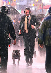 "Keanu Reeves appears very exhausted and in pain while filming intense running scenes in the pouring rain for more than 10 hours straight with his pit bull costar by his side for the third installment of ""John Wick"" in Manhattan's Times Square. Keanu was seen yawning several times and looked very tired as filming started 8pm Monday night and ended at 6am on Tuesday morning. At one point the pit bull ran away from the scene and started fighting with a horse which caused chaos on the set for a few minutes. 19 Jun 2018 Pictured: Keanu Reeves. Photo credit: LRNYC / MEGA TheMegaAgency.com +1 888 505 6342"