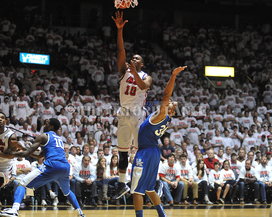 "Ole Miss' LaDarius White (10) vs. Kentucky's Julius Mays (34) at the C.M. ""Tad"" Smith Coliseum on Tuesday, January 29, 2013. Kentucky won 87-74. (AP Photo/Oxford Eagle, Bruce Newman).."
