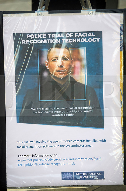 © Licensed to London News Pictures. 17/12/2018. London, UK.  A notice explaining that facial recognition trials are taking place in the area. Members of the Metropolitan police trial facial recognition technology on members of the public in central London. The surveillance software is being used overtly with a uniformed presence. Privacy campaigners have expressed concerns about the use of the technology. Photo credit: Ben Cawthra/LNP
