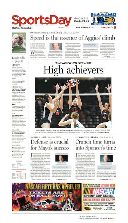 The Dallas Morning News - Sports Day, C1, November 11, 2012.