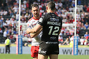 Hull Kingston Rovers half back Danny McGuire (7) and Hull FC outside back Jake Connor (14) shake hands after  the Betfred Super League match between Hull FC and Hull Kingston Rovers at Kingston Communications Stadium, Hull, United Kingdom on 19 April 2019.