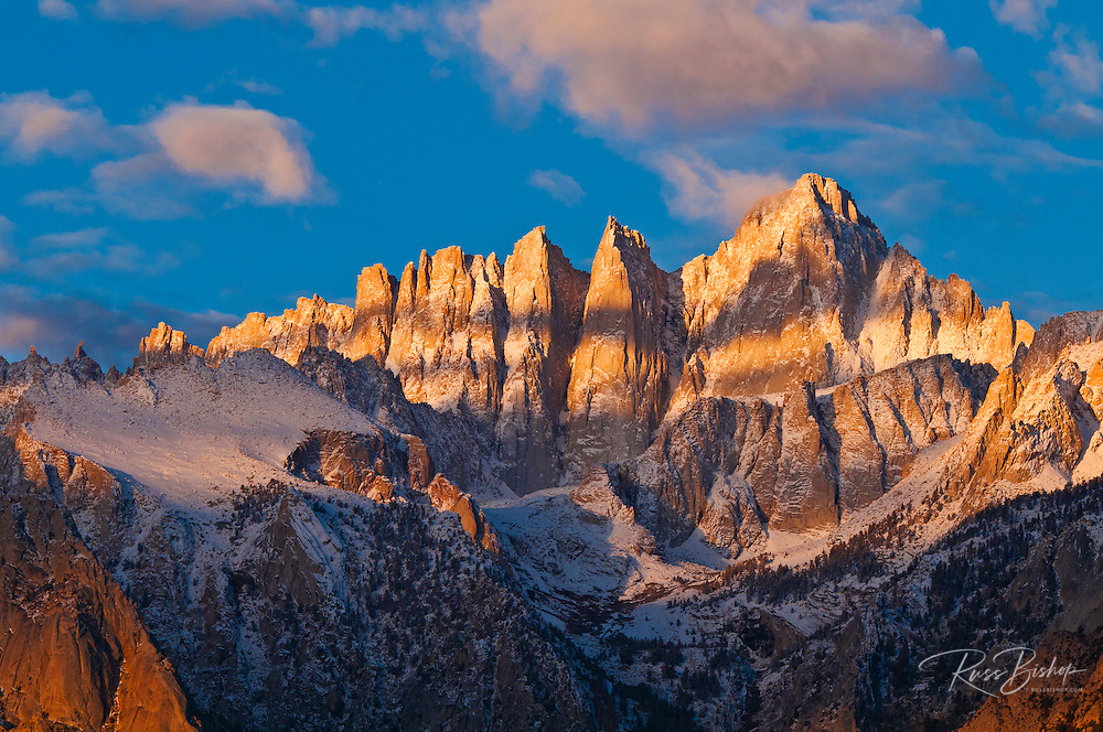 Dawn light on Mount Whitney from the Alabama Hills, Sequoia National Park, California USA
