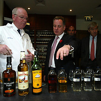 FREE TO USE PIC....<br />First Minister Jack McConnell who officially opened the new £3m bottling line at The Edrington Groups HQ in Glasgow..He is pictured nosing whisky with master blender John Ramsay.<br />See press release from Edrington Group: Contact Sharon McLaughlin on 07879 694962<br />Copyright Perthshire Picture Agency<br />Tel: 01738 623350  Mobile: 07990 594431