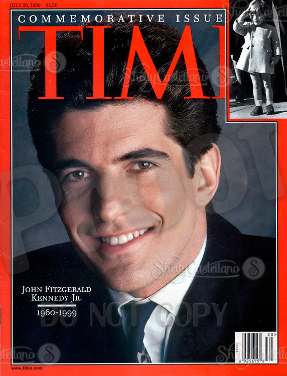 Jul 26, 1999; New York, NY, USA; Cover Scan of TIME Magazine Commemorative Issue dated July 26, 1999 Vol. 154 #4. With JOHN FITZGERALD KENNEDY JR. on the cover wearing a suit &amp; tie. On July 19, 1999 JFK Jr and his wife died when their plane crashed off the coast of Martha's Vineyard.  <br />