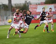 Dundee&rsquo;s Yordi Teijsse goes flying under the challenge of Hamilton&rsquo;s Giorgos Sarris - Hamilton v Dundee in the Ladbrokes Scottish Premiership at Superseal stadium, Hamilton. Photo: David Young<br /> <br />  - &copy; David Young - www.davidyoungphoto.co.uk - email: davidyoungphoto@gmail.com