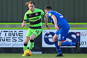 Forest Green Rovers Theo Archibald(18) takes on Morecambe's Luke Conlan(3) during the EFL Sky Bet League 2 match between Forest Green Rovers and Morecambe at the New Lawn, Forest Green, United Kingdom on 17 November 2018.