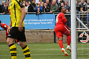 Josh Koroma of Leyton Orient (19) celebrates his team mate Macauley Bonne of Leyton Orient (9) scoring to make the score 0-1 during the Vanarama National League match between Harrogate Town and Leyton Orient at Wetherby Road, Harrogate, United Kingdom on 22 September 2018.