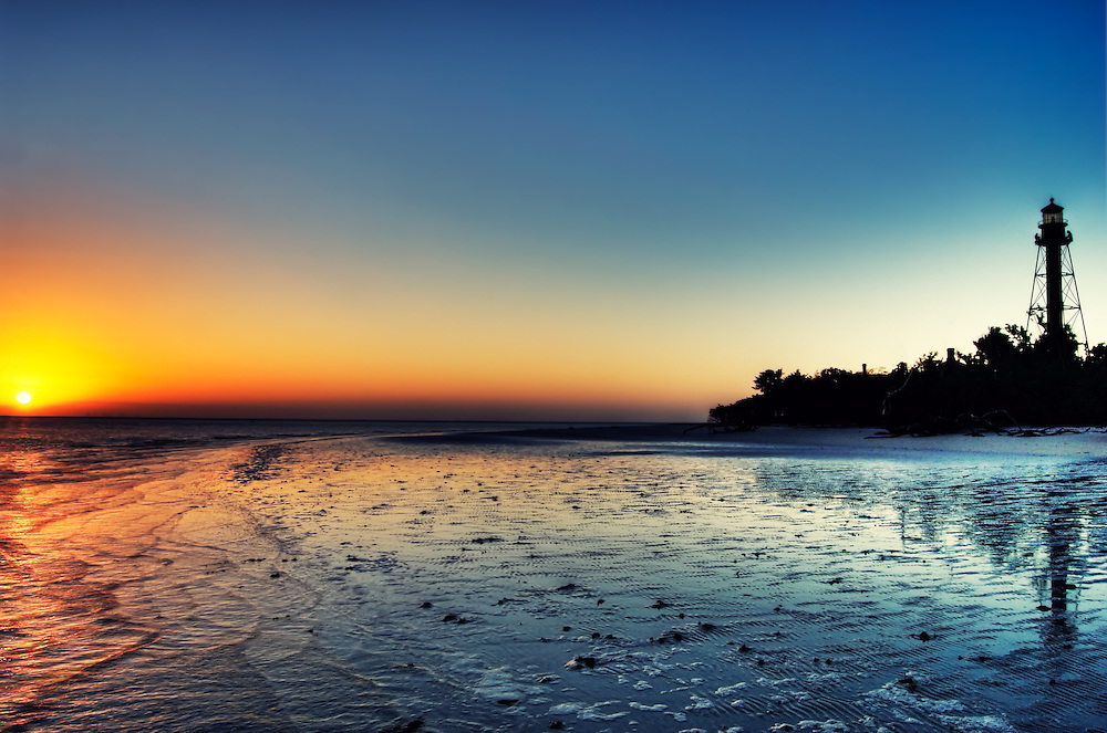 The rising sun at Lighthouse Point on Sanibel Island.