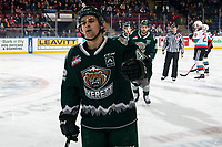 KELOWNA, BC - FEBRUARY 28: Cole Fonstad #42 of the Everett Silvertips skates to the bench to celebrate a first period goal against the Kelowna Rockets at Prospera Place on February 28, 2020 in Kelowna, Canada. Fonstad was selected in the 2018 NHL entry draft by the Montreal Canadiens. (Photo by Marissa Baecker/Shoot the Breeze)