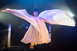 "© Licensed to London News Pictures. 24/04/2019. LONDON, UK. Fancy Chance, hair hanging dynamo, performs at the preview of Bernie Dieter's ""Little Death Club"" an eclectic performance show taking place at the Underbelly Festival on the Southbank until 23 June 2019.  Photo credit: Stephen Chung/LNP"