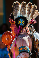 A Native American boy from the Tewa Dance Troupe (Nambe Pueblo) performing at the Indian Pueblo Culture Center, Albuquerque, New Mexico USA