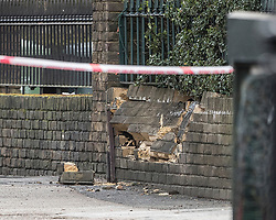 © Licensed to London News Pictures. 22/01/2018. London, UK. A damaged wall is seen near inside a police cordon in Romford Road after a shooting incident. Roads are closed after a man was shot in the head last night. Photo credit: Peter Macdiarmid/LNP