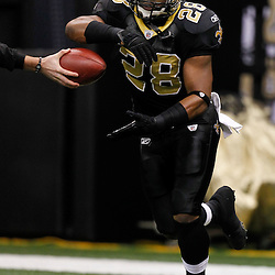 November 28, 2011; New Orleans, LA, USA; New Orleans Saints running back Mark Ingram (28) warms up prior to kickoff of a game against the New York Giants at the Mercedes-Benz Superdome. Mandatory Credit: Derick E. Hingle-US PRESSWIRE