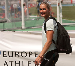 Snezana Rodic of Slovenia after she competed during the women's triple jump qualifications at the 2010 European Athletics Championships at the Olympic Stadium in Barcelona on July 29, 2010. (Photo by Vid Ponikvar / Sportida)
