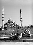 Taking a break in front of the Yeni Mosque