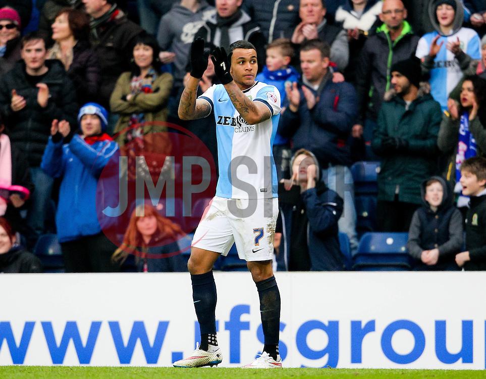 Blackburn's Josh King celebrates after scoring his sides third goal. 3-1  -  Photo mandatory by-line: Matt McNulty/JMP - Mobile: 07966 386802 - 14/02/2015 - SPORT - Football - Blackburn - Ewood Park - Blackburn Rovers v Stoke City - FA Cup - Fifth Round