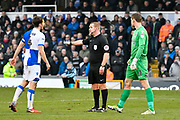 Referee Lee Swabey talks to Tom Lockyer during the EFL Sky Bet League 1 match between Bristol Rovers and Bradford City at the Memorial Stadium, Bristol, England on 20 January 2018. Photo by Graham Hunt.