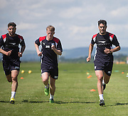 Dundee&rsquo;s Kostadin Gadzhalov, Calvin Colquhoun and Julen Etxabeguren  -  Dundee FC pre-season training at Dundee University Grounds, Riverside<br /> <br />  - &copy; David Young - www.davidyoungphoto.co.uk - email: davidyoungphoto@gmail.com