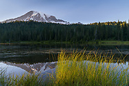 Sunset view of Mount Rainier from Reflection Lake.