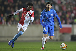 February 14, 2019 - Prague, CZECH REPUBLIC - Slavia's Peter Olayinka and Genk's Alejandro Pozuelo fight for the ball during a soccer game between Czech club SK Slavia Praha and Belgian team KRC Genk, the first leg of the 1/16 finals (round of 32) in the Europa League competition, Thursday 14 February 2019 in Prague, Czech Republic. BELGA PHOTO YORICK JANSENS (Credit Image: © Yorick Jansens/Belga via ZUMA Press)