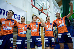 Phillip Eatherton, Nicholas Cundy, Matevz Kamnik, Rok Satler and Mitja Gasparini at last final volleyball match between OK ACH Volley and Salonit Anhovo, on April 21, 2009, in Arena SGS Radovljica, Slovenia. ACH Volley won the match 3:0 and became Slovenian Champion. (Photo by Vid Ponikvar / Sportida)