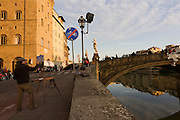 The landscape painter Leo Mancini-Hresko constructs a view on canvass of the Ponte Santa Trinita in Florence. Born in Boston, Leo currently teaches painting and drawing, both privately in his studio in Piazzale Donatello and for The Florence Academy of Art. Ponte Santa Trinita was constructed by the Florentine architect Bartolomeo Ammanati from 1567 to 1569. Its site, downstream of the equally remarkable Ponte Vecchio,[2] is a major link in the medieval street plan of Florence, which has been bridged at this site since the thirteenth century. The bridge was destroyed in 1944 by retreating German troops but reconstructed in 1958 with original stones raised from the Arno or taken from the same quarry, under the direction of the architect Riccardo Gizdulich and the engineer Emilio Brizzi.