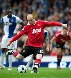 BLACKBURN, ENGLAND - Saturday, May 14, 2011: Manchester United's Wayne Rooney scores the equalising goal against Blackburn Rovers from the penalty spot, another important dodgy penalty decision awarded to Man Utd, during the Premiership match at Ewood Park. (Photo by David Rawcliffe/Propaganda)