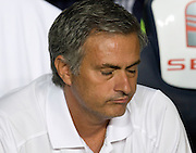 A dejected Jose Mourinho reflects.  Barcelona v Real Madrid, Supercopa first leg, Camp Nou, Barcelona, 23rd August 2012...Credit - Eoin Mundow/Cleva Media