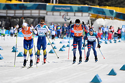MODIN Zebastian SWE B1 Guide: BRYNTESSON Robin, CLARION Thomas FRA B1 Guide: BOLLET Antoine competing in the ParaSkiDeFond, Para Nordic Skiing, Sprint at  the PyeongChang2018 Winter Paralympic Games, South Korea.