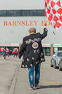 A Barnsley fan outside Oakwell, Barnsley prior to the Sky Bet League 1 Playoff Semi Final First Leg between Barnsley and Walsall<br /> Picture by Matt Wilkinson/Focus Images Ltd 07814 960751<br /> 14/05/2016