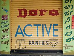 Underwear advert on shop front, Mysore