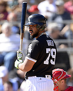 GLENDALE, ARIZONA - FEBRUARY 25:  Jose Abreu #79 of the Chicago White Sox looks on against the Cincinnati Reds on February 25, 2018 at Camelback Ranch in Glendale Arizona.  (Photo by Ron Vesely)  Subject:   Jose Abreu