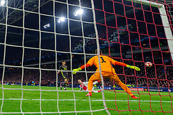10-04-2019 NED: Champions League AFC Ajax - Juventus,  Amsterdam<br /> Round of 8, 1st leg / Ajax plays the first match 1-1 against Juventus during the UEFA Champions League first leg quarter-final football match / Nicolas Tagliafico #31 of Ajax, Joao Cancelo #20 of Juventus, Wojciech Szczesny #1 of Juventus