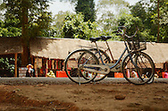 Rental bicycles of tourists outside one of Angkor's temples
