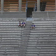 Young lacrosse fans watch the action between the Boston Cannons and the Charlotte Hounds during the game at Harvard Stadium on May 17, 2014 in Boston, Massachuttes. (Photo by Elan Kawesch)