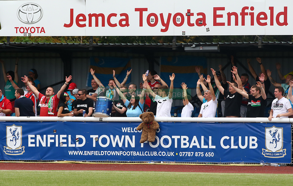 June 9, 2018 - London, England, United Kingdom - Szekely Land Fans.during Conifa Paddy Power World Football Cup 2018 Bronze Medal Match Third Place Play-Off between Padania v Szekely Land at Queen Elizabeth II Stadium (Enfield Town FC), London, on 09 June 2018  (Credit Image: © Kieran Galvin/NurPhoto via ZUMA Press)